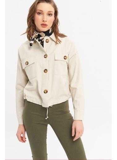 ESQ Bağcıklı Gabardin Ceket Krem